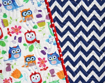 SALE LAST ONE Owl Quilt, Blue Chevron Blanket, Primary Colors, Red Blue Green Orange, Nursery Bedding, Crib Cot, Gender Neutral, Boy or Girl