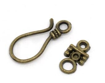 Jewellery Making Antique Bronze 23 x 10 & 14 x 8mm Hook Toggle Clasp Set x5 (10 pcs)