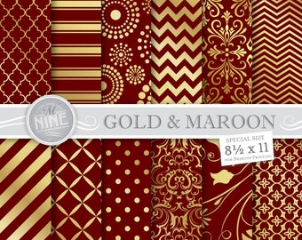 MAROON and GOLD Digital Paper / 8 1/2 x 11 Gold and Maroon Patterns Printable / Instant Download, Patterns Printable Scrapbook Gold Damask