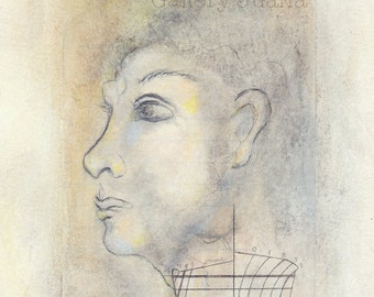 portrait, wooden boat, pencil drawing