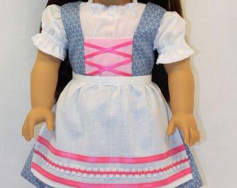 18 inch Doll Clothes - Hearts Dirndl Dress