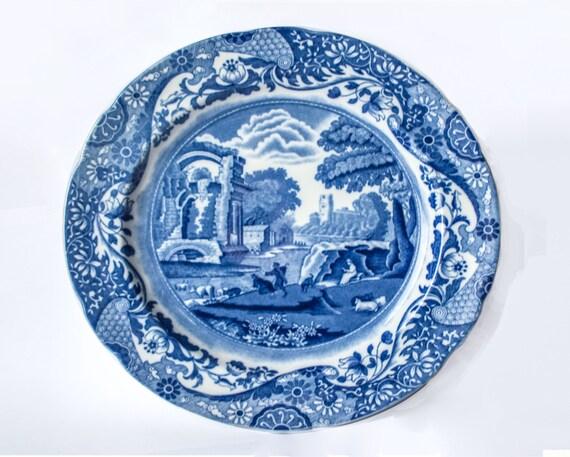 Spode Italian Plate   1950\u0027s English Porcelain Copeland Spode Blue \u0026 White Italian 10 1/2\  Spode Italian Dinner Plate / Cake Plate  sc 1 st  Etsy & Spode Italian Plate 1950\u0027s English Porcelain Copeland