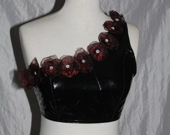 Patent leather - Bustier - bra top [red flowers] Gr. 38