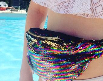 Rainbow disco sequin bum bag fannypack