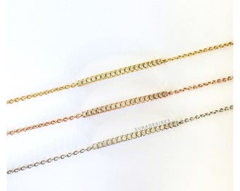 Danity Crystal Bar Bracelet, Bar Bracelet, Crystal Bracelet, Skinny Bar Bracelet, Bridesmaid Gift, Skinny Crystal Bar Bracelet | Suradesires