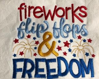 New Kitchen Tea Towel with AMERICAN Patriotic Fireworks Flip flops FREEDOM