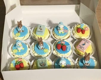 6 Beatrix Potter, peter rabit cupcakes or cake toppers, completely edible