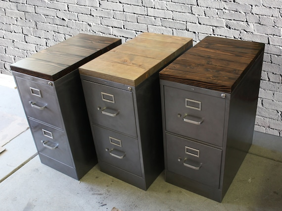 Refinished 2 Drawer Letter Size Metal Filing Cabinet W Wood