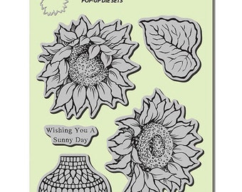Flower stamp, Sunny Vase, Stampendous, Sunflower Stamp, Rubber Stamp
