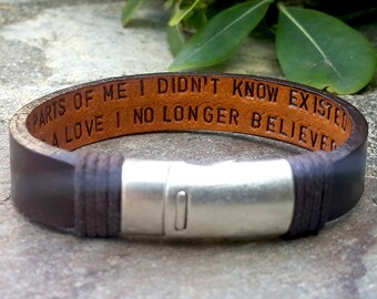 Graduation Gift for Her Engraved Custom Quote Jewelry Personalized Hidden Message Leather Bracelet Gift for Daughter Gift for Encouragement