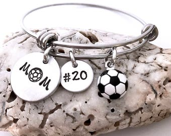 Soccer Mom Bracelet-Soccer Jewelry- Mother's Day Gift- Sports Mom Jewelry-Mom Adjustable Bracelet- Adjustable Bangle- Team mom gift