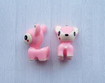 2 x Pink Acrylic Baby Deer Pendant Charms