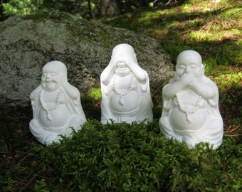 Buddha Statues, Three Laughing Buddha Figures, Hear No Evil, See No Evil, Speak No Evil, 3 Concrete Cement Buddhas,  Home and Garden Decor