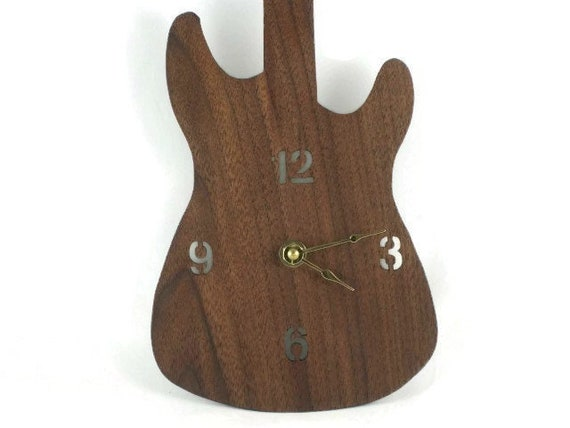 Fender Stratocaster Guitar Wall Hanging Clock Handmade From Walnut  Wood Quartz Clock Movement