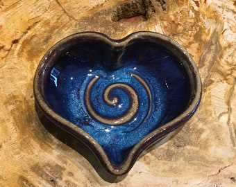 Handmade Blue Heart Ceramic Dish // Ring Dish // Trinket Dish // Heart Dish // Mother's Day Gift