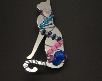 1987 Liztech Regal Cat Pin Figural Chrome Handmade Kitty Brooch Retired Vintage Jewelry