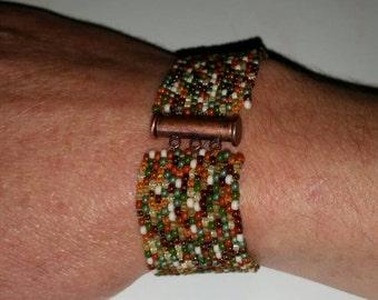 Beaded Peyote Cuff Bracelet,  Autumn Leaves Beaded Bracelet with Copper Slide Clasp