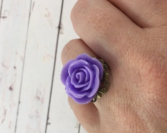 Vintage Inspired Purple Flower Statement Ring // Adjustable Ring // Stocking Stuffer Gift Idea