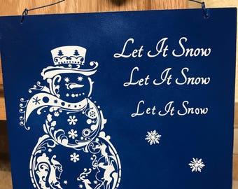 Fancy Filagree Snow says Let it snow, Christmas decoration