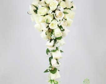 Artificial Wedding Flowers, Champagne & Gold Rose Brides Teardrop Bouquet