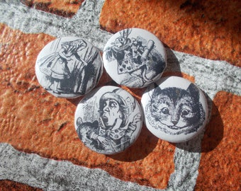 25mm/1 inch button badge -  Alice in Wonderland, Alice, Hatter, Cheshire Cat, Rabbit, set of 4, collectable badges