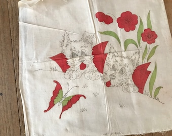 40's Scottie Dog Pillow Kit Sweet Vintage Linen Pillow Kit Scotty Dogs Stamped Tinted Needs Completion Scotty Dog Collectible NOS Project