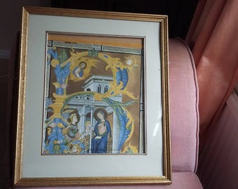 Large Vintage Religious Print 'The Anunciation'