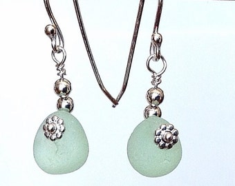 Green Sea Glass Earrings strung with Sterling Silver, English Seafoam Beach Glass Jewelry, Handcrafted Metalwork