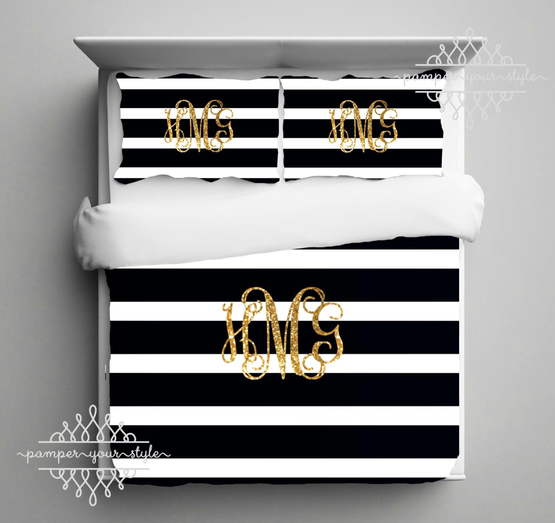 Gold Monogram Bedding Black and White Stripe Dorm forter