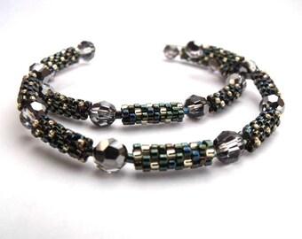 Crystal beaded hoops, blue hoop earrings, teal beaded jewelry | seed bead earrings, woven glass hoops, teal blue jewelry