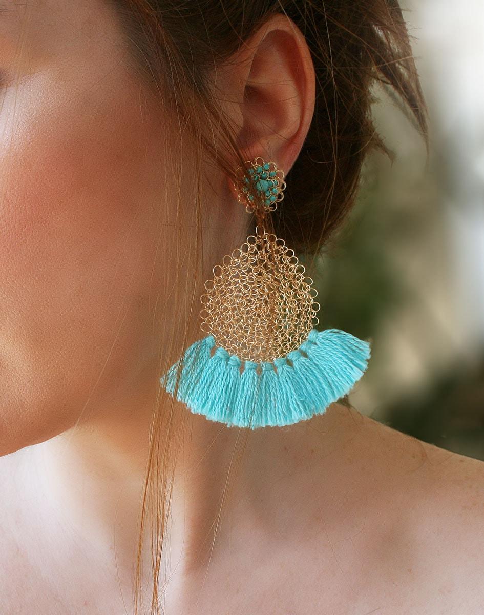 Fransen Ohrringe Türkis blau Gold Draht häkeln Halsketten