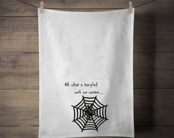 Oh What a Tangled Web Tea Towel - Halloween - Gothic - Spider - Gift - Towel - Kitchen - Kitchenware