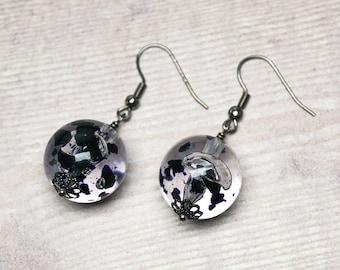 Ink Blot Bead Earrings -- Large Baubles in Clear & Black -- Beaded Monochromatic Drop Earrings -- Bubble Dangles -- UK Shop