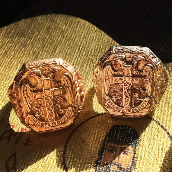 Etherial Jewelry Rock Chic Talisman Luxury Biker Custom Handmade Artisan Pure Sterling Silver .925 Cross Double Headed Eagle Christian Ring