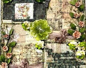 Elite4u Shabby Vintage Look Premade Page Layout For Scrapbook ALBUM Frame or  Wall Art