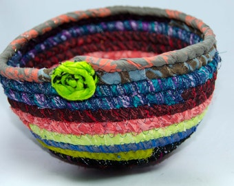 """Bohemian Coiled Fabric Basket, Coiled Fabirc Bowl,  Catch All Basket, Trinket Basket, 4"""" x 5"""" at Base  Measures  4"""" Deep"""
