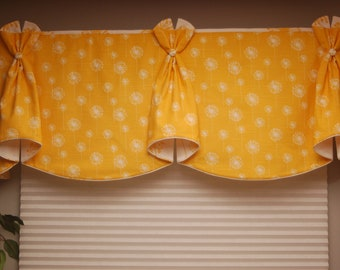 "Custom Window Valance BUNNY EARS Hidden Rod Pocket® Valance fits 33""- 46"" window, LABOR and lining only"