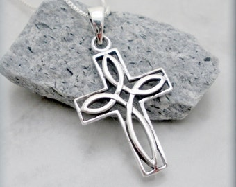 Celtic Cross Necklace, Easter Necklace, Easter Gift, Sterling Silver, Cross Pendant, Irish Jewelry, Celtic Jewelry, Religious Faith