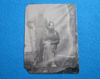 Antique Civil War 1/6 Plate Tintype of Two Soldiers in Camp