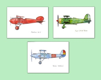 Airplane boys room decor Set 3 prints Aircraft print Transportation art  Vintage airplane painting Boy's nursery wall art Gift for pilot