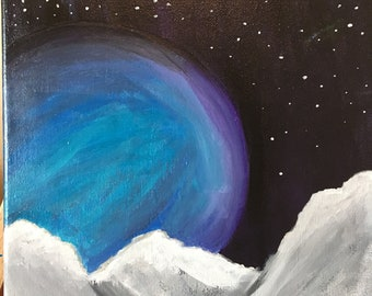 Mountains and moon painting