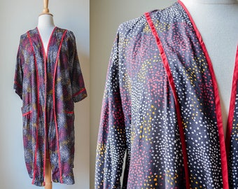 1940s 50s Spotted Vibrant Colorful Robe Dressing Gown Loungewear Cotton Pleetway Pinup Burlesque Abstract