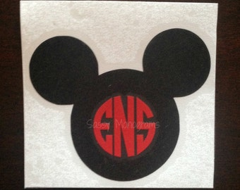 Mickey or Minnie Mouse Custom Personalized Monogram Vinyl Decal