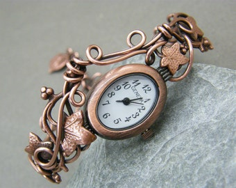 Ladies watch ~ Wrist watch ~ Womens watch ~ 7th anniversary gift for her ~ Watch for her ~ Watch bracelet ~ Unique watches ~ Copper watch ~