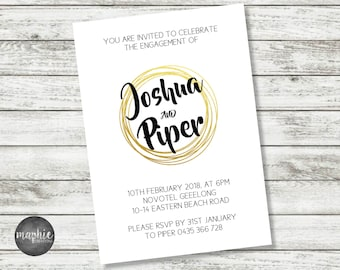 Engagement Invitation A6 Printed, Gold Rings