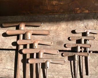 Vintage Allen T-Handle Tool Set | 9 Piece Rustic Metal Allen Set | Metal T-Handle Allen Set | Metal Allen Wrench Set | Antique Tools |