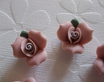 17mm Pink Ceramic Roses - Flower Cameos - Green Leaf - Purple Center - Flat Back Cabochons - Qty 6