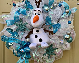 Frozen Movie Olaf Wreath, Olaf Stuffed Animal Wreath, Frozen Movie Wreath,  Frozen Door Decor, Disney Character Wreath, Blue White Deco Mesh