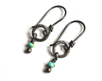 Sterling Silver Earrings Simple Hoop Turquoise Wire Wrapped Dangles Rustic Everyday Wear