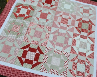 PDF Patchwork Quilt PATTERN ....Baby, Lap, Twin and Full/Queen, Layer Cake or Fat Quarters, Shoo Dash Quilt